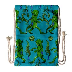 Swamp Monster Pattern Drawstring Bag (large)