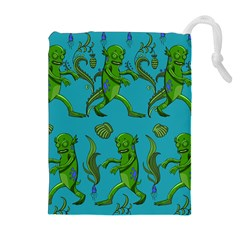 Swamp Monster Pattern Drawstring Pouches (Extra Large)