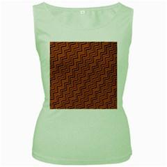 Brown Zig Zag Background Women s Green Tank Top