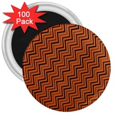 Brown Zig Zag Background 3  Magnets (100 pack)