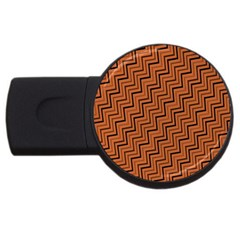 Brown Zig Zag Background USB Flash Drive Round (2 GB)