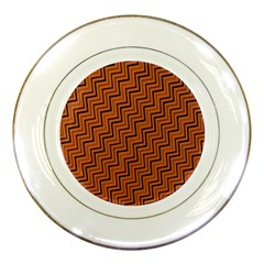 Brown Zig Zag Background Porcelain Plates