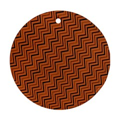 Brown Zig Zag Background Round Ornament (Two Sides)