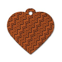 Brown Zig Zag Background Dog Tag Heart (two Sides)