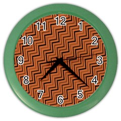Brown Zig Zag Background Color Wall Clocks