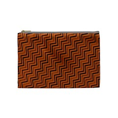 Brown Zig Zag Background Cosmetic Bag (medium)