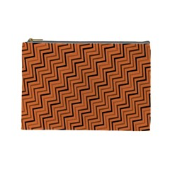 Brown Zig Zag Background Cosmetic Bag (large)