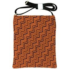 Brown Zig Zag Background Shoulder Sling Bags