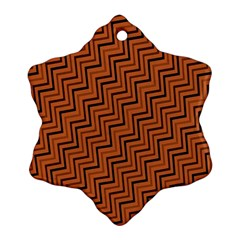 Brown Zig Zag Background Snowflake Ornament (two Sides)