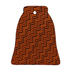 Brown Zig Zag Background Bell Ornament (two Sides)