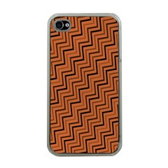 Brown Zig Zag Background Apple iPhone 4 Case (Clear)
