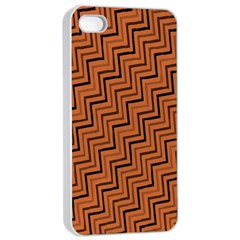Brown Zig Zag Background Apple iPhone 4/4s Seamless Case (White)