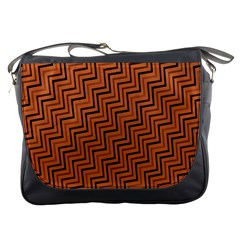 Brown Zig Zag Background Messenger Bags