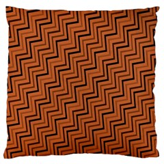 Brown Zig Zag Background Large Cushion Case (two Sides)