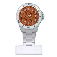 Brown Zig Zag Background Plastic Nurses Watch