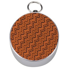 Brown Zig Zag Background Silver Compasses