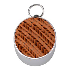 Brown Zig Zag Background Mini Silver Compasses