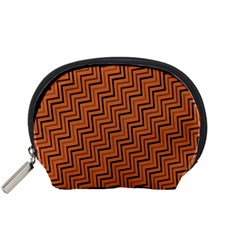 Brown Zig Zag Background Accessory Pouches (small)