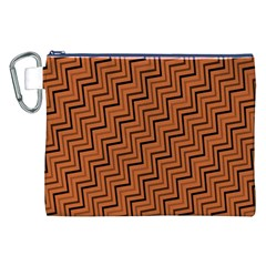 Brown Zig Zag Background Canvas Cosmetic Bag (XXL)