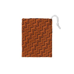 Brown Zig Zag Background Drawstring Pouches (xs)