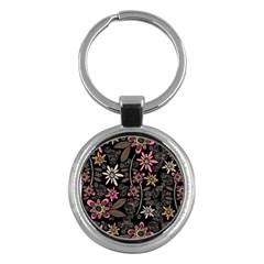 Flower Art Pattern Key Chains (Round)