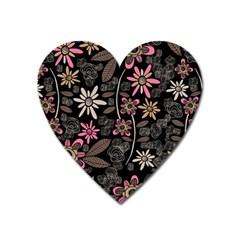 Flower Art Pattern Heart Magnet