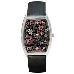 Flower Art Pattern Barrel Style Metal Watch