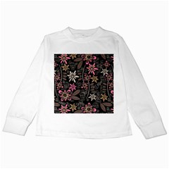 Flower Art Pattern Kids Long Sleeve T-Shirts