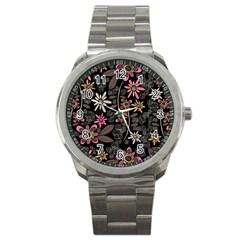Flower Art Pattern Sport Metal Watch