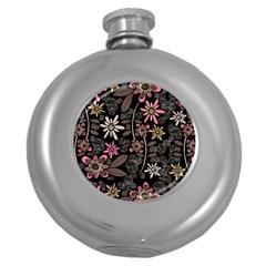 Flower Art Pattern Round Hip Flask (5 oz)