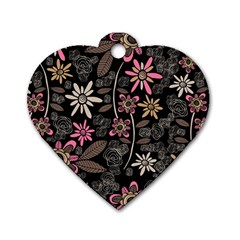 Flower Art Pattern Dog Tag Heart (Two Sides)