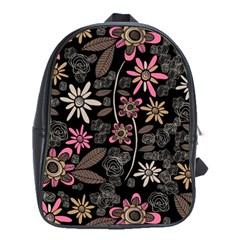 Flower Art Pattern School Bags(Large)