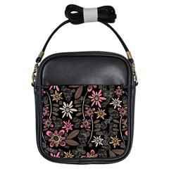 Flower Art Pattern Girls Sling Bags