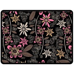 Flower Art Pattern Fleece Blanket (Large)