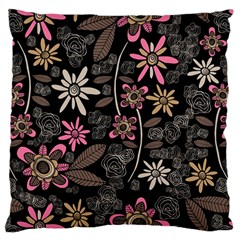 Flower Art Pattern Large Cushion Case (Two Sides)