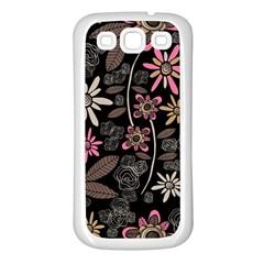 Flower Art Pattern Samsung Galaxy S3 Back Case (white)
