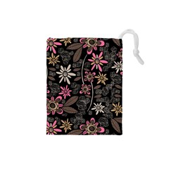 Flower Art Pattern Drawstring Pouches (small)