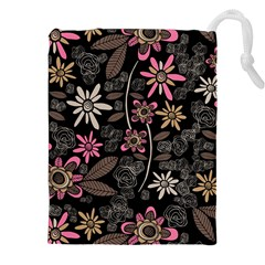 Flower Art Pattern Drawstring Pouches (XXL)