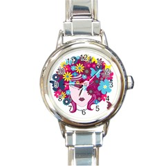 Beautiful Gothic Woman With Flowers And Butterflies Hair Clipart Round Italian Charm Watch