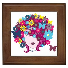 Beautiful Gothic Woman With Flowers And Butterflies Hair Clipart Framed Tiles