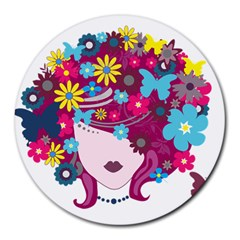 Beautiful Gothic Woman With Flowers And Butterflies Hair Clipart Round Mousepads
