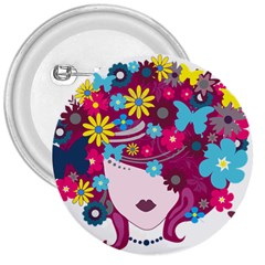 Beautiful Gothic Woman With Flowers And Butterflies Hair Clipart 3  Buttons