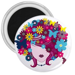 Beautiful Gothic Woman With Flowers And Butterflies Hair Clipart 3  Magnets