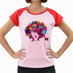Beautiful Gothic Woman With Flowers And Butterflies Hair Clipart Women s Cap Sleeve T-Shirt
