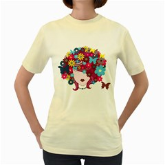 Beautiful Gothic Woman With Flowers And Butterflies Hair Clipart Women s Yellow T Shirt