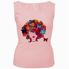 Beautiful Gothic Woman With Flowers And Butterflies Hair Clipart Women s Pink Tank Top
