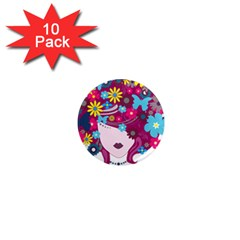 Beautiful Gothic Woman With Flowers And Butterflies Hair Clipart 1  Mini Magnet (10 Pack)