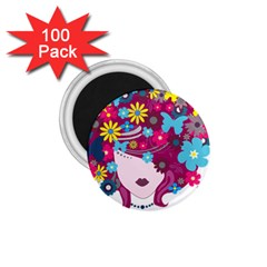 Beautiful Gothic Woman With Flowers And Butterflies Hair Clipart 1 75  Magnets (100 Pack)