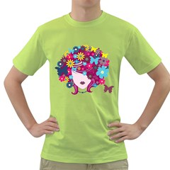 Beautiful Gothic Woman With Flowers And Butterflies Hair Clipart Green T Shirt