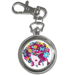 Beautiful Gothic Woman With Flowers And Butterflies Hair Clipart Key Chain Watches